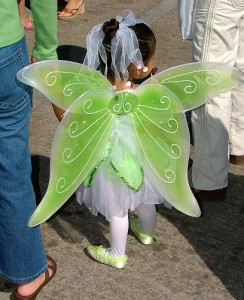 green butterfly fairy wings for flowergirl in wedding