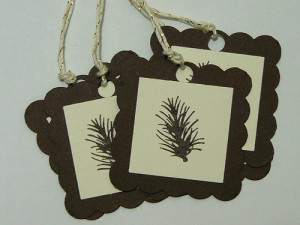pine themed handmade stamped tags for favors