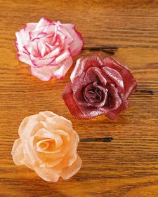 crepe paper rose barrettes