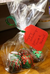 christmas themed chocolate oreo truffles in bag favor