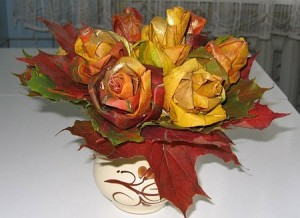 autumn maple leaf rose flower wedding diy craft arrangement centerpiece