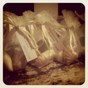 homemade diy wedding bath favors for wedding seashells in bags with tags