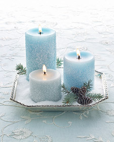 frosted blue diy wedding candle centerpiece salted salts epsom pillar taper votive winter snowy