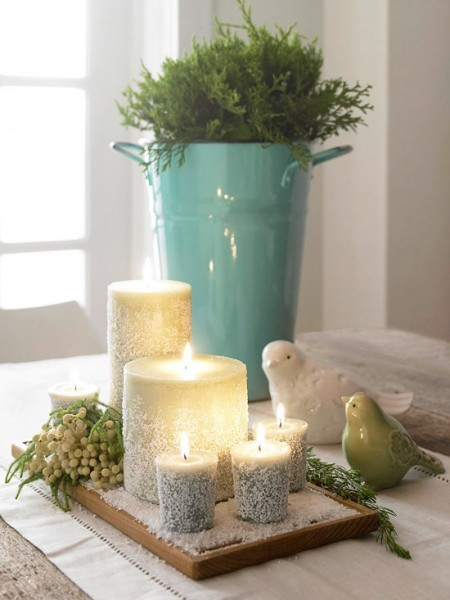 frosted epsom salt candle centerpiece diy cheap wedding winter affordable